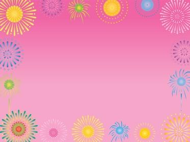 ピンクの花火のフレーム