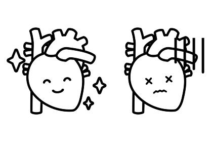 心臓と顔(モノクロ)