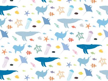 海の生き物 シームレスパターン壁紙背景