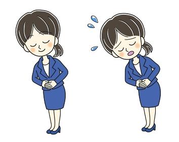 お辞儀する青いスーツの若い女性の2ポーズ