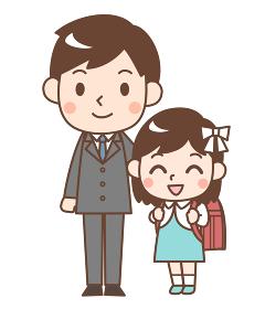 入学式の娘と父親