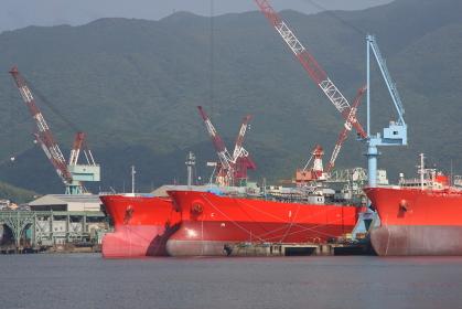 造船所に並んでいるバウ形状の異なる新造船横並び