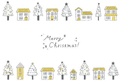 クリスマスの街並みと雪のグリーティングカードイラスト
