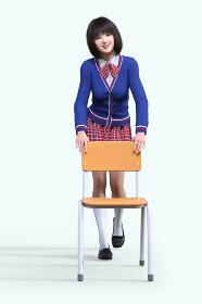 学習椅子に手を添えて席を譲っている赤いリボンをしたショートヘアの女子高生が一人