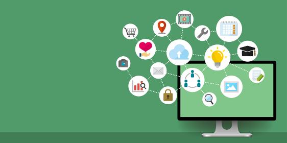 バナーイラスト(文字スペースあり) /テクノロジー,コンピューター,IT,ビジネス etc.