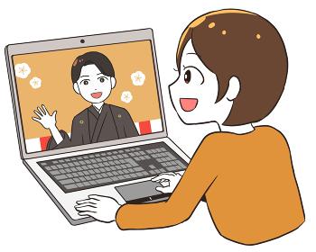 オンライン成人式を見る 袴 女性