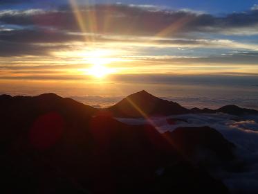 北アルプス槍ヶ岳からの朝日