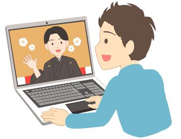 オンライン成人式を見る 袴 男性(線無し)