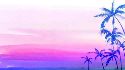 ヤシの木と夕焼け空 背景 フレーム 水彩 イラスト 横長