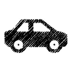 チョークで描いたような図形/アイコン(自動車)