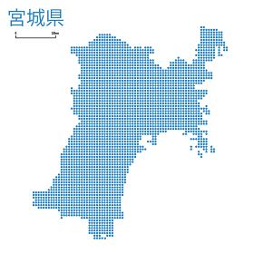 宮城県の詳細地図東北地方|都道府県別ドット表現の地図のイラスト ベクターデータ