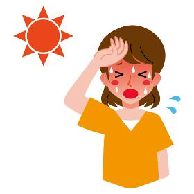 熱中症、太陽と若い女性