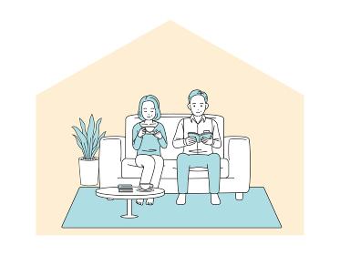 ソファーでリラックスする中高年の夫婦 お茶 読書 ステイホーム 男女 ミドル イラスト素材