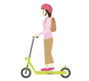 人物 女性と電動キックスクーター 電動キックボードのイラスト