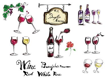 手描きのワイン関連の筆描きイラスト素材と筆文字