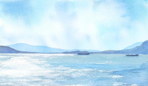 空と海の風景 水彩画