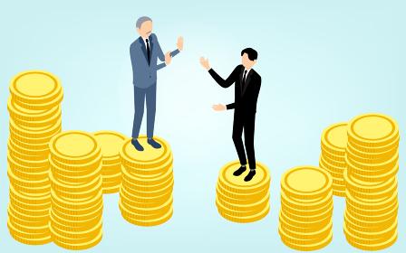 金貨の上に立つビジネスマン、ビジネスシーンのイメージ、アイソメトリック