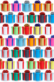 Many gifts collection presents Christmas background portrait format birthday gift present isolated on white