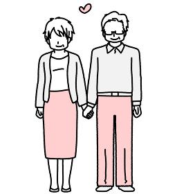手を繋いで立っているおじいちゃんとおばあちゃん シニア男女