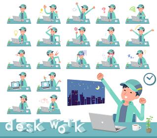 flat type man Blue green Sportswear_desk work