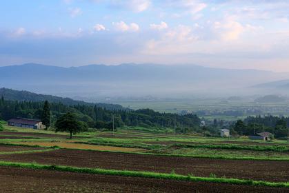 長野県・木島平村 幻想的な早朝の朝霧の風景