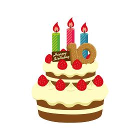 誕生日・バースデーケーキ イラスト ( 10歳)