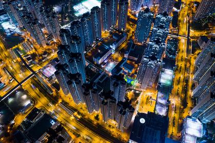 Tin Shui Wai, Hong Kong 07 October 2018:- Hong Kong residential district at night