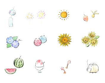 夏の墨絵風イラストセット