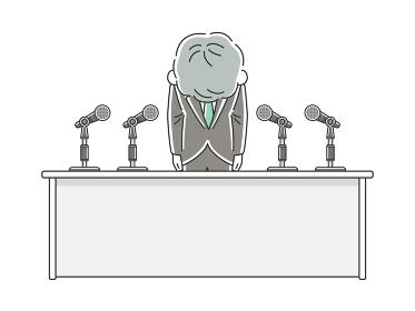 記者会見で謝罪する年配男性のイラスト