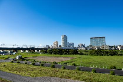 川崎市側から二子玉川駅方面の風景