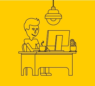 Man work with computer design flat. Computer and business man worker, man in office desk, businessman person at table workplace, character work manager vector illustration. Black on yellow