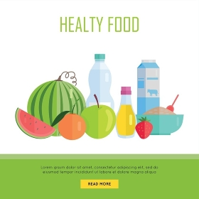 Healthy food concept web banner. Vector in flat design. Illustration of various food cereal, oil, water, milk, fruits and vegetables on white background for cafe, stores, farm web pages design. . Healthy Food Concept Web Banner Illustration.