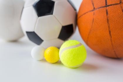 close up of different sports balls set