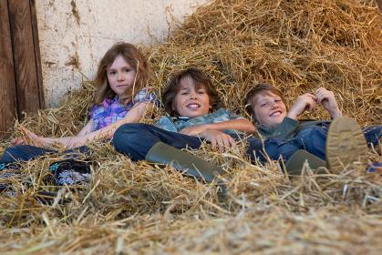 Three kids resting in hay