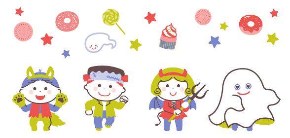 ハロウィンのおばけの衣装を着てポーズする子どもたち / 4色・シンプルカラー