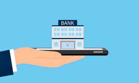 スマホの上の銀行、オンラインバンク・ネットバンクのイラストイメージ、ベクターイラストレーション