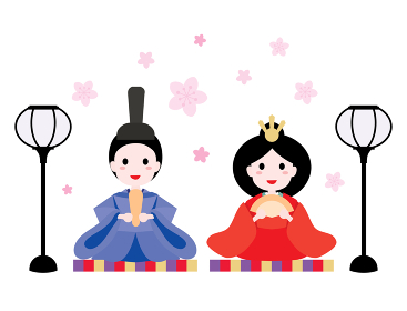 ひな祭りの雛人形の男雛と女雛