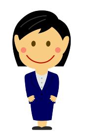 デフォルメ・二頭身 日本人 女性OL 全身人物イラスト