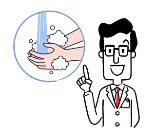 ベクター素材:手洗いの重要性を説明する男性医師