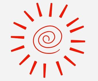 ぐるぐる巻きの赤い太陽