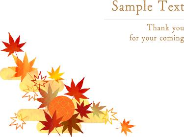 Japanese-maple-Frame-秋の紅葉のデコレーション-イラスト
