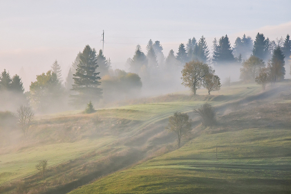 Beautiful mountain landscape, fall season outdoor background