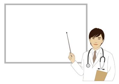 ホワイトボードの前で指し棒を持つ男性医師