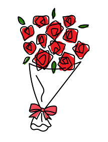 バラの花束 手描きの線画