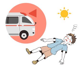 熱中症で倒れる 救急車 男性