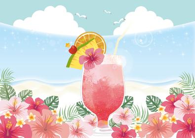 トロピカル:ジュース 南国 ハイビスカス バカンス 夏休み カクテル 果物 きらきら 海 波