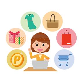ネットショッピングをする女性