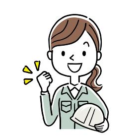 イラスト素材:作業服を着た若い女性、やる気、元気