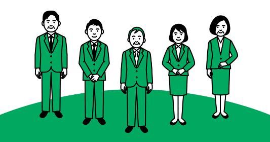 ビジネスチーム 年配男性メイン 5人