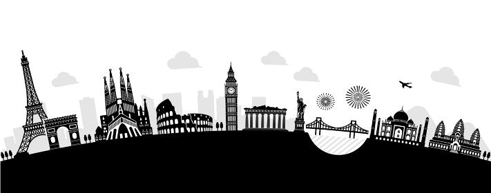 世界の有名な建築物・世界遺産・ランドマーク 横並び風景イラスト (アーチ型)